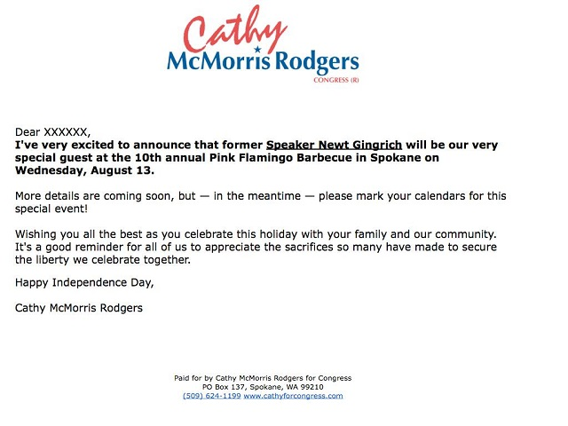 Newt Gingrich will be huckstering at an event for McMorris Rodgers