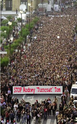 Protest: Stop Rodney 'Turncoat' Tom