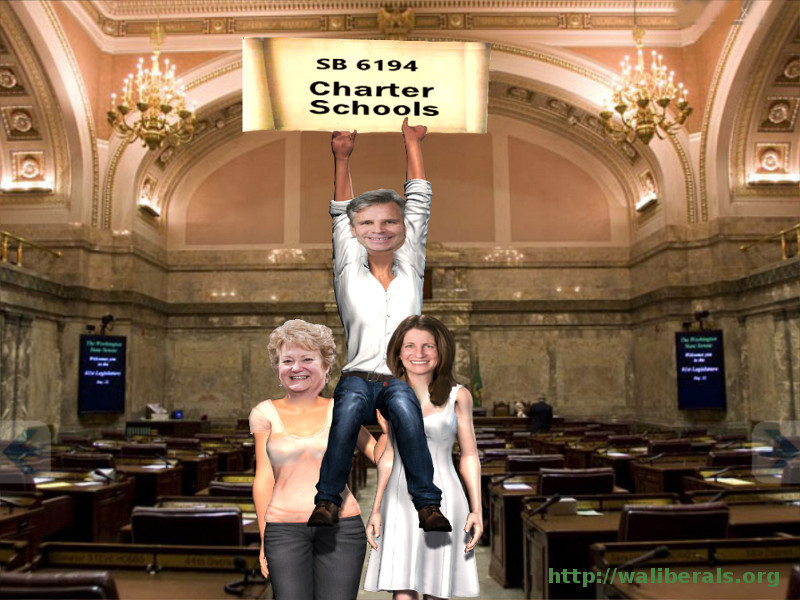 Judy Clibborn and Tana Senn hold Steve Litzow on their shoulders as Litzow celebrates his charter school victory