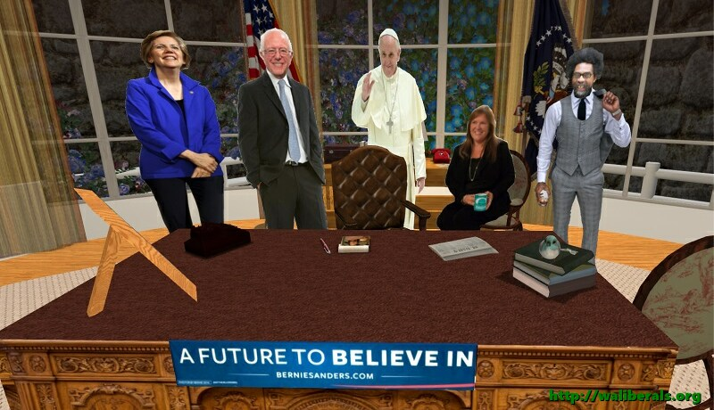 Bernie Sanders in the Oval Office, with Elizabeth Warren, Pope Francis, Jane O'Meara Sanders, and Cornel West