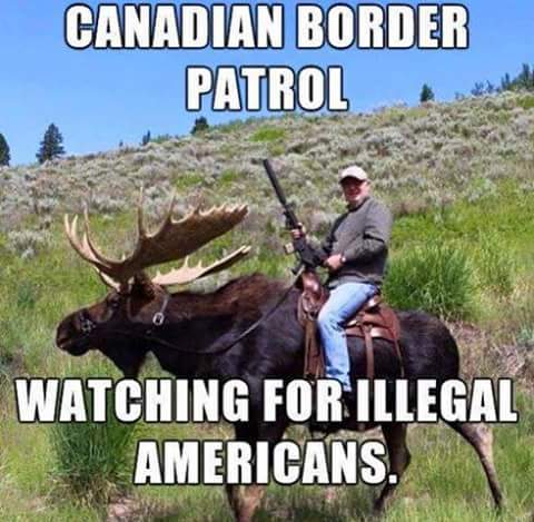 Canadian Border Patrol guarding against illegal American immigrants