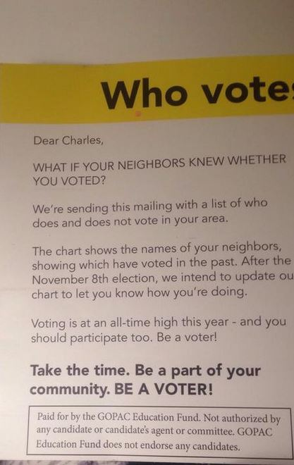 Republican mailing tries to shame people into voting