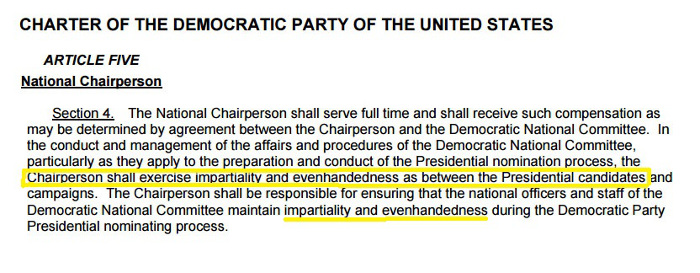 The Charter of the Democratic Party says the Chairperson shall exercise impartiality and evenhandedness as between the Presidential candidates.