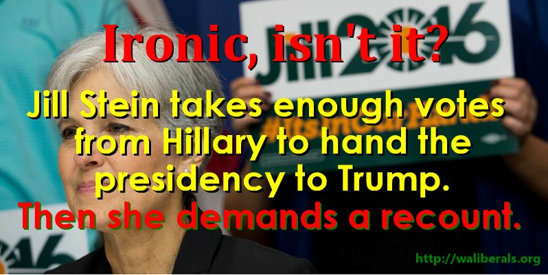 Ironic, isn't it? Jill Stein takes enough votes from Hillary to hand the presidency to Trump. Then she demands a recount.