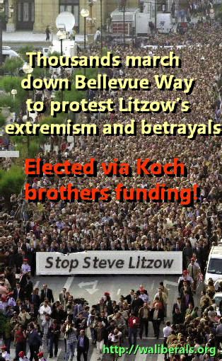 Steve Litzow protest march down Bellevue Way