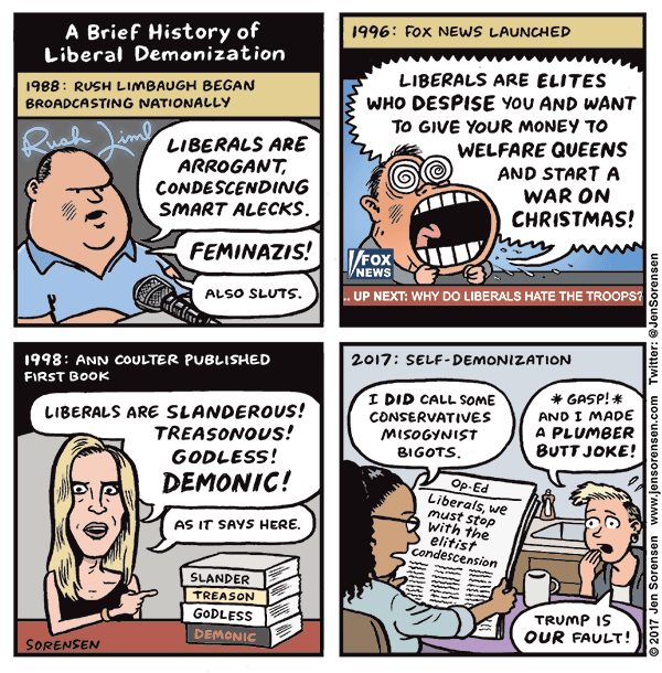 A Brief History of Liberal Demonization, by Jen Sorensen