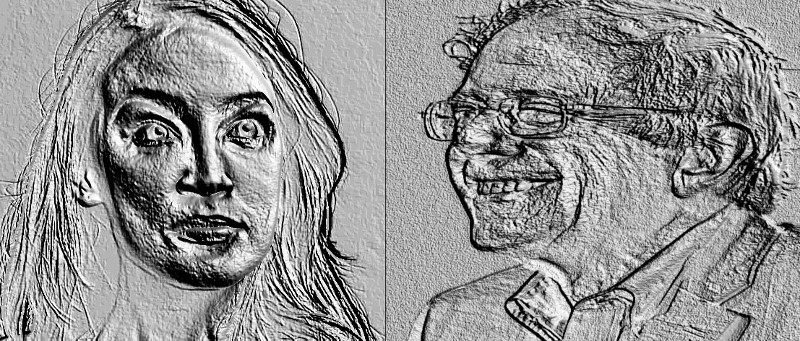 Alexandria Ocasio-Cortez and Bernie Sanders, distorted with embossing via gimp