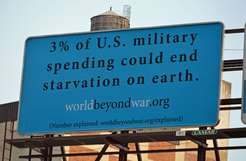 3% of U.S. military spending could end starvation on earth. See http://worldbeyondwar.org/explained