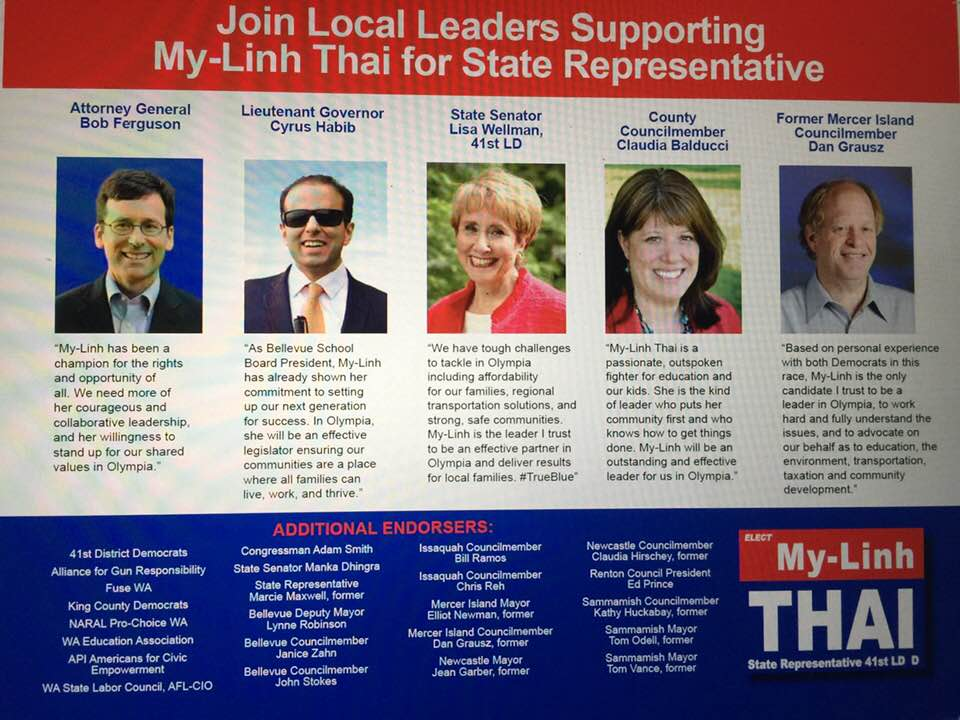 My-Linh Thai for 41st LD State House position 1: many endorsements
