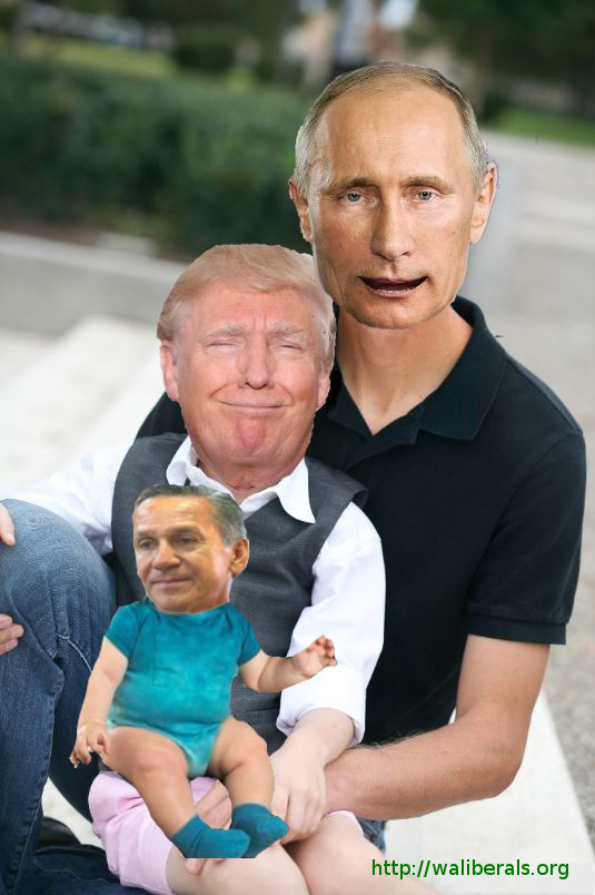 Dino Rossi sitting on Donald Trump's lap, with Trump sitting on Vladimir Putin's lap