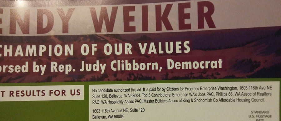 Ad for fake Dem Wendy Weiker, funded by corporate PAC Citizens for Progress Enterprise Washington