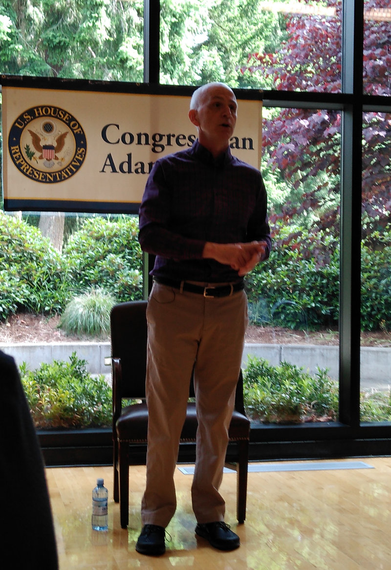 Rep. Adam Smith at town hall in Bellevue, on June 8, 2019
