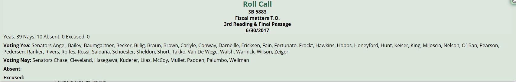 Roll call vote for SB5883